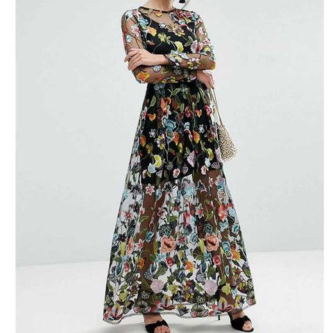 Fashion Women Brand Floral Embroidery Dress O Neck Long Sleeve Casual Party Summer Dress High Waist Maxi Long Dress vestido