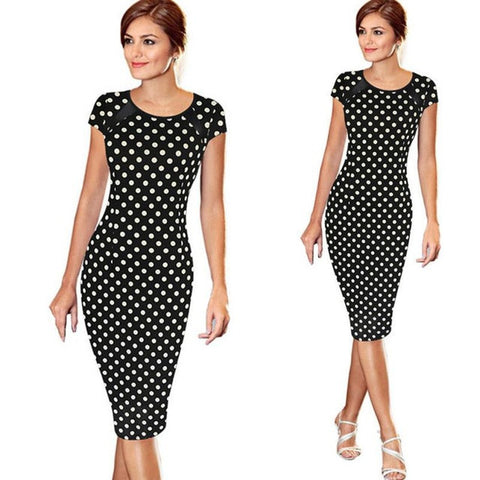 Women Summer Retro FauxOne-Piece Polka Dot Contrast Patchwork Bandage Bodycon Short Sleeve Sexy Party Pencil Knee-Leng Dress