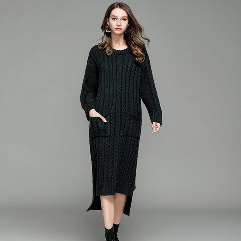 FATIKA Women Knitwear 2017 Autumn Winter Knitted Dress Front Short Back Long O-Neck Casual Solid Color Rib Thick Sweater Dresses