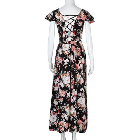 Sexy Bohemia Style Women Holiday Summer Flower Print Short Sleeve V Neck Split Swing Long Maxi Dress vestidos verano 2017#523