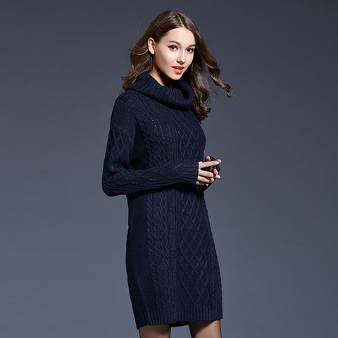FATIKA 2017 Women Sweater Full Sleeve Solid Geometric Rib Dress Loose Casual Turtleneck Winter Knitted Mini Dress For Ladies