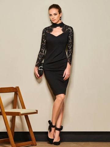 Black Lace Patchwork Long Sleeve Women's Sheath Dress