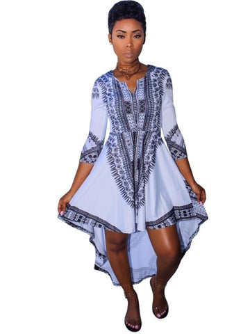3/4 Sleeve Asym Printing Women's Day Dress