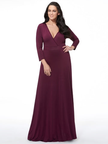 Plus Size Plain V-Neck Women's Long Sleeve Dress