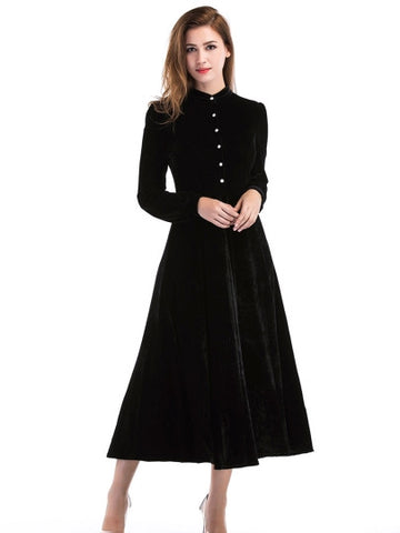 Black Velvet Single-Breasted Women's Day Dress