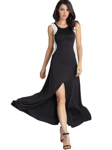 Black Split Sleeveless Women's Maxi Dress