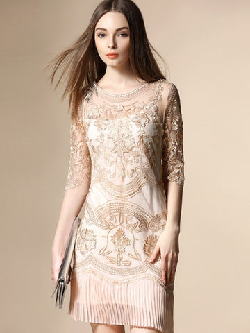 Half Sleeve Patchwork Women's Lace Dress
