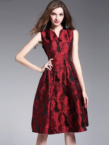 Red Flowers Printed Women's Day Dress