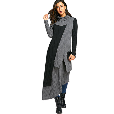 VESTLINDA T-shirt Dress Women Cowl Neck Two Tone Asymmetric Extra Long Maxi Dresses Autumn Fashion Casual Robe Female Vestidos
