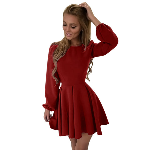 Fashion Women's O Neck Long Sleeve Party Dress Evening Pleated Mini Dress