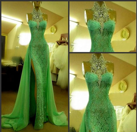 Emerald Green High Collar with Crystal Diamond Arabic Evening Party Dress