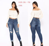 Plus Size Jeans Hole Ripped Women Pants Cool Denim Vintage Slim Jeans For Girl High Waist Casual Pants Femal