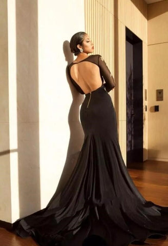 Sexy Black High Slit Mermaid Evening Dress Delivery In About 20 Days