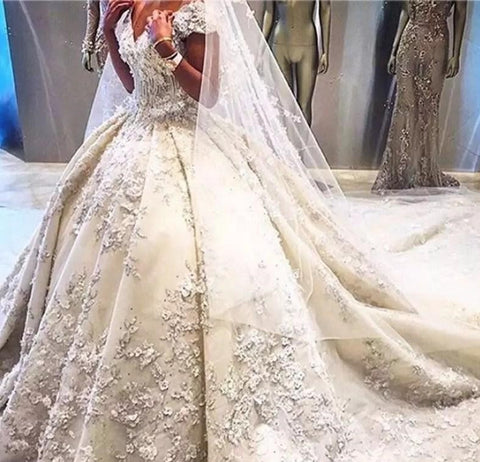 Off Shoulder Formal Ball Gown Lace Appliques Wedding Dress