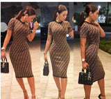 Ladies Ff Printed Contrast Color Women Fashion Dress Delivery I About 18 Days