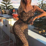Leopard Print Sexy Maxi Bodycon Dress Delivery In About 18 Days