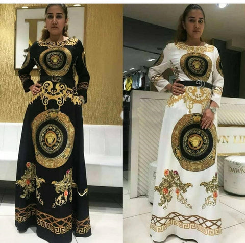 African 2019 Fashion Styles Women Dress Long Printing Loose Belt