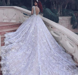 Latest O-neck Long Sleeve Ball Gown Wedding And Bridal Dress Beaded Crystals Wedding Gowns