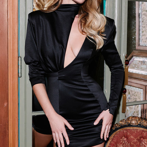 Cryptographic 2020 Spring New Fashion Black Mini Dress Delivery In About 30 Days
