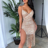 Sparkly Gold Sequins Night Birthday Tassel Split Sleeveless Midi Bodycon Party Dress