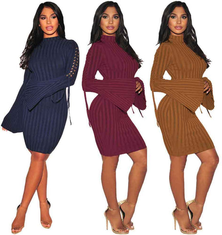Sweater Dress Vertical Rib Delivery In About 18 Days