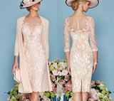 Vintage Bateau Sheath Lace Mother Of The Bride Dress Plus Size Formal 3/4 Sleeve Knee Length