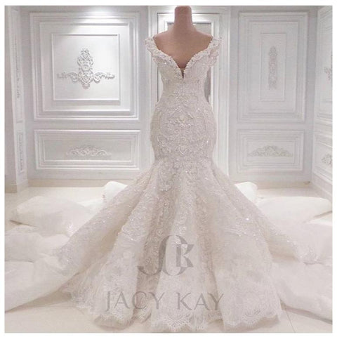 Lace Wedding Dresses 2016 Spring Designer New Crystal Pearls,Delivery In About 23 Days