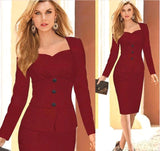 Two Pieces Long Sleeve Work Dress, Delivery In About 15 Days