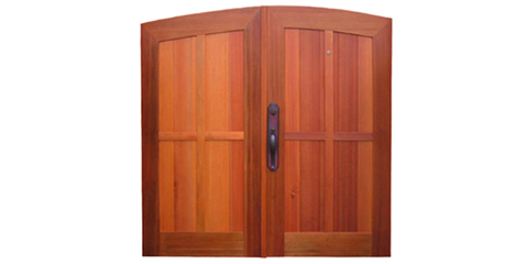 Archtop Double Wood Gate with Detail Overlay