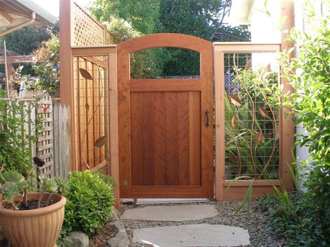 Open Top Arched Wood Garden Gate