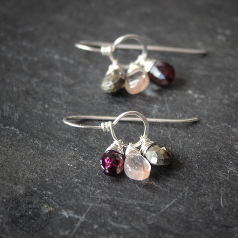 Alchemist Drops. Pyrite, Garnet and Quartz Dreamcatcher Earrings in Sterling Silver.