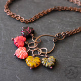 Autumn Leaves Stitch Marker Necklace Set for Fall Loving Knitters.