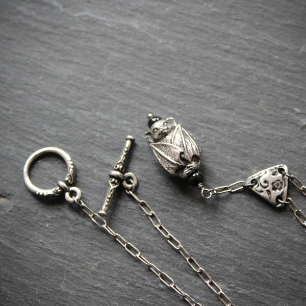 The Littlest Bat. Long Gothic Bat Y Necklace.