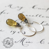 Beer Quartz Everyday Earrings. Simple Elegant Sterling Silver Earrings for the Craft Beer fan.