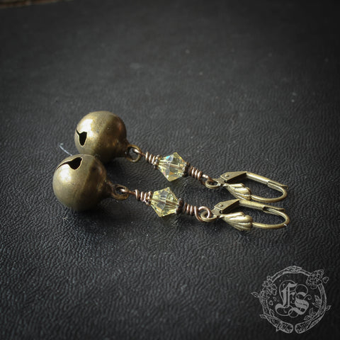 Bells for the Goddess. Simple Jingle Earrings with Swarovski Crystals.