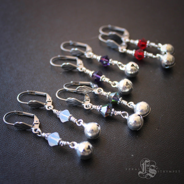 Bells for the Goddess.  Custom Silver Bell Earrings.