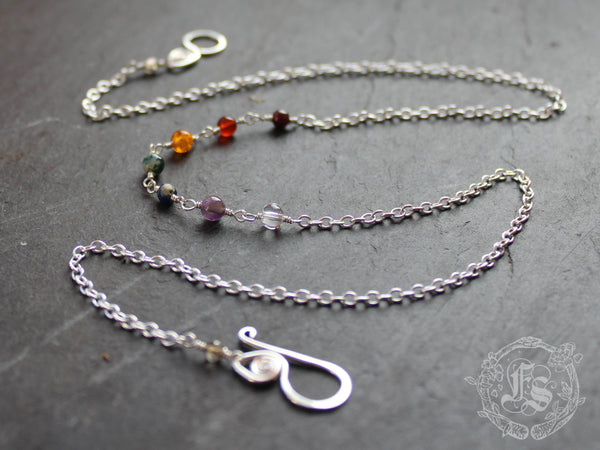 Delicate Rainbow Chain Necklace in Sterling Silver. Bifrost.