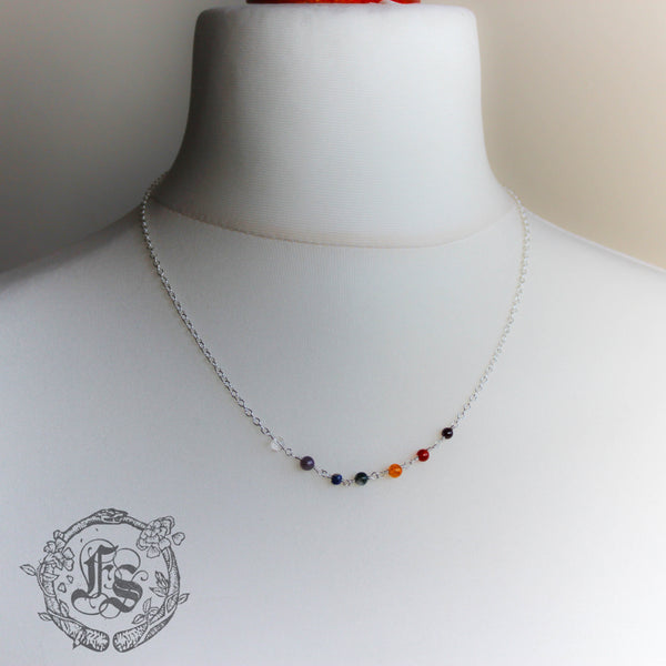Bifrost Chain in Sterling Silver. Everyday Rainbow Necklace.