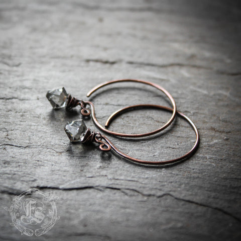 Stardust Earrings. Black Diamond Swarovksi Hoops in Rustic Copper.
