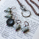 Knitters Necklace. Winter Flower Stitch Marker Necklace Set.
