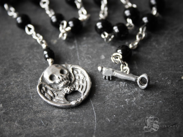 The Boleyn. Gothic Winged Skull Necklace with Rosary Beads.