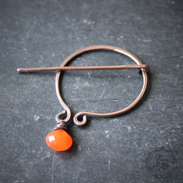 Iron Age Penannular Brooch with Carnelian Drop. Knitting Clasp. Hand Knit Closure.