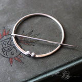 Shawl Pin of Hand Forged Sterling Silver Adorned with Granulations.