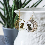 Bright Brass Hare and Moon Earrings.