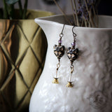 Cat Familiar and Labradorite Moon Earrings. Gothic Cat Earrings