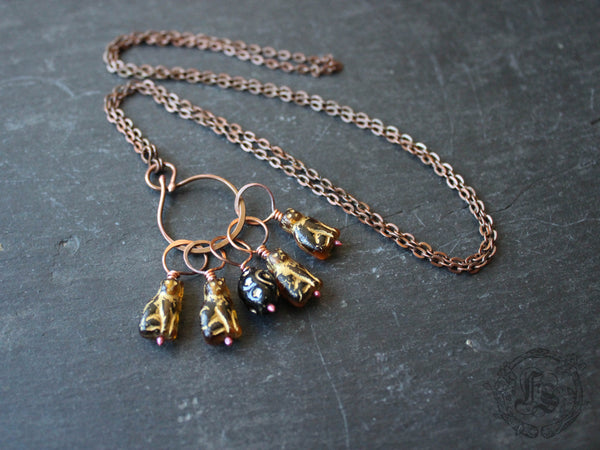 Witches Cats Stitch Marker Set in Brown.