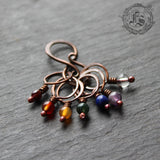 Bifrost Rainbow Stitch Marker Set in Hand Forged Copper with Necklace Option. Chakra Stitch Marker Set.