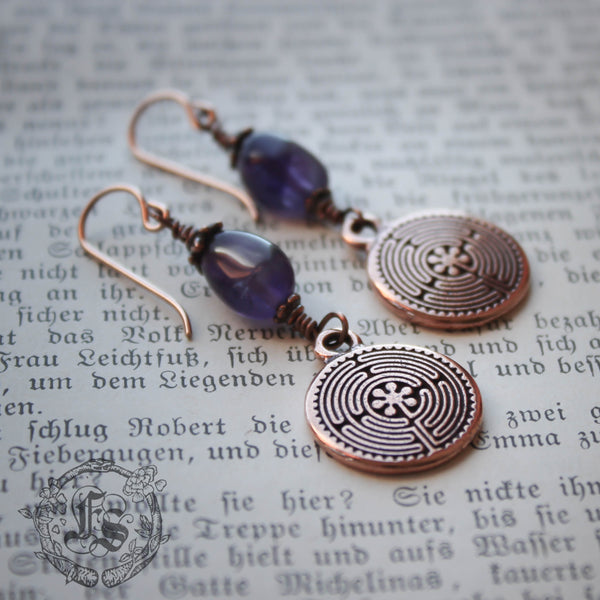 Chartres Labyrinth Earrings in Copper with Amethyst and Rose Gold Filled Ear Wires.