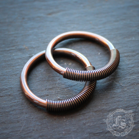 Mini Tesla Hoops in Copper. 4g. 6g. 12g. Small unisex ear weights. Hangers.