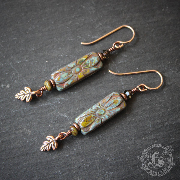 Rustic Deco Earrings with Rose Gold filled Ear Wires.